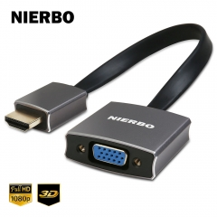 NIERBO HDMI to VGA 1080P Adapter (Male to Female) with Audio 3.5 mm Cable and Micro USB Cable for computer laptop Chromebook Apple TV