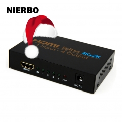 NIERBO HDMI Splitter 1 in 4 out HD Powered Splitter Box Supports 4Kx2k 3D 1080P 1X4 Port for PC PS3/PS4 XBOX Blue-Ray DVD STB