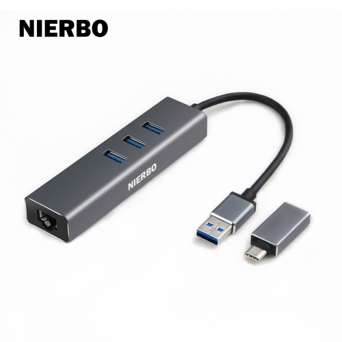NIERBO USB 3.0 hub Ethernet External Network Card Adapter reader with 3 USB 3.0 5Gbps Ports, USB Splitter for Mac Chromebook