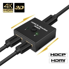 Hdmi Splitter NIERBO 1x2 Powered 4K hdmi splitter Dual Monitor 1 in 2 out or 2 in 1 out HDMI Splitter 4Kx2K@30HZ Duplicating Video and Audio for Full