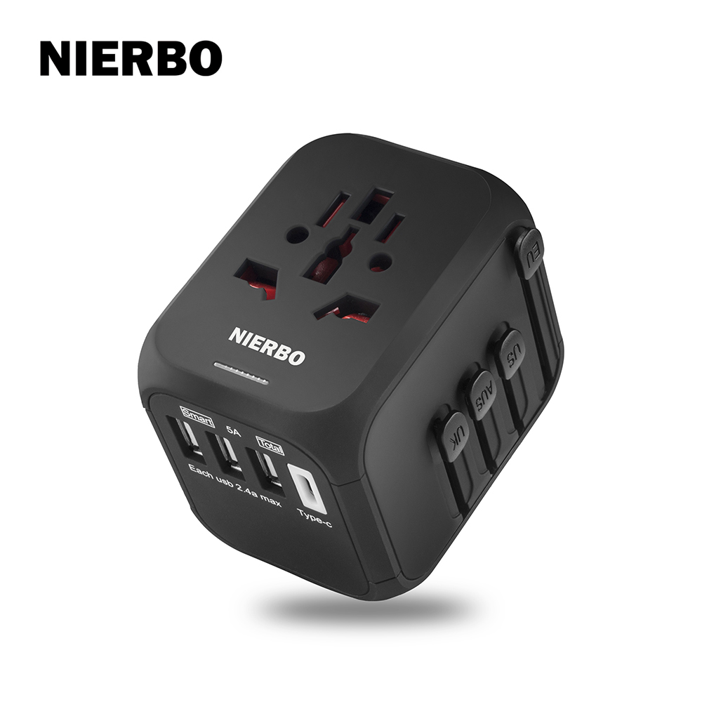 International Travel Plug Power Adapter with USA EU UK AUS AC Plugs and  Sockets, 3 USB & 1 Type C Slots Suit Global 200+ Countries