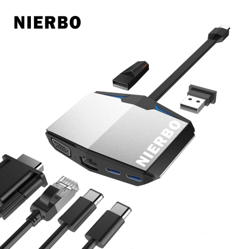 NIERBO USB-C 6-in-1 Hub, RJ45 Ethernet / HDMI / 2xUSB 3.0 Ports / 2xUSB 3.1 Ports, Hub and Multiport Adapter Support Windows 10