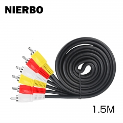 NIERBO AV Cable 1.5 m Male - Male RCA Cable 3 Pin RCA Video Cable Video Television Extension Cord Easy to Use