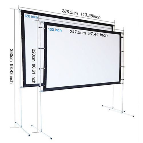 portable projector screen size