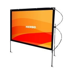 Portable Outdoor Folding Movie Screen 80 Inch 16:9 with Stand Display with Stand, Full Playable Camping Bag for Camping and Outdoor