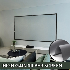 NIERBO Metal Silver Projector Screen 60-300 Inches Ambient Light Rejecting 3D Projection Movies Screen PVC Material Gain 2.4 for Indoor Outdoor