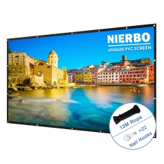 100 Inch Portable Projector Screen NIERBO Upgraded PVC Screen 16:9 HD Foldable Waterproof Movie Screen for Indoor Outdoor Home Theater Travel