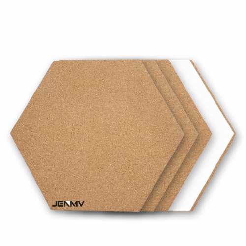 JENMV Hexagon Cork Board Tiles 5 Pack with Full Sticky Back- Mini Wall Bulletin Boards, Pin Board-Decoration for Home Office Classroom Wall (7.9 x 6.85 inch)