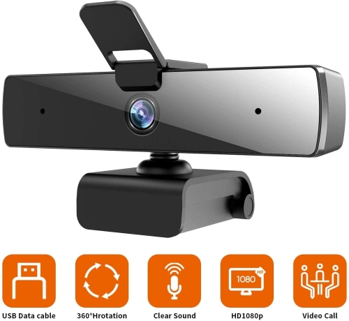 Camara with microphone Ideal for video calls or online classes, PC 1080P 2MP Full HD PC Desktop Computer Laptop Mac Webcam for streaming video calls Recording Videoconference Studio Video Teaching Business video games
