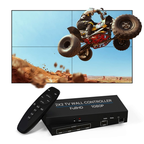 NIERBO 2 x 2 HDMI-Video-Wand-Controller, 1080p @ 60 Hz, HD-Display, 180 Grad drehbar, 8 Display-Modi – 2 x 2, 1 x 3, 1 x 4, 2 x 1, 3 x 1, 4 x 1, HDMI-Eingang und -Ausgang.