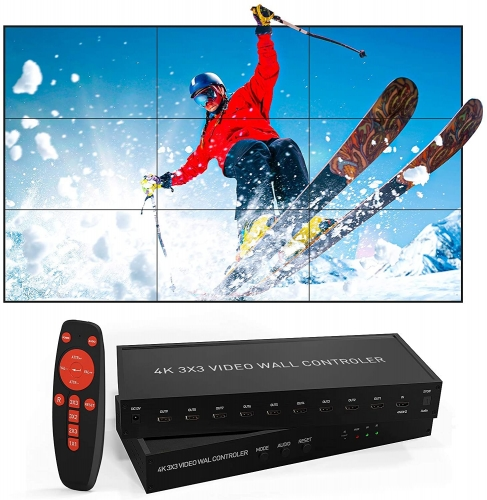 NIERBO 3x3 HDMI Video Wall Controller, 4K@60HZ HD Display, 180 Degree Rotate, 13 Display Modes - 3x3, 3x2, 2x3, 4x2, 2x2, 3x1, 4x1, HDMI Input & Output
