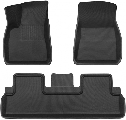 Full Set of TPE Floor Mats and Rear Trunk Cargo Tray for Tesla Model 3 - All Versions Flexible